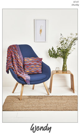 Wave Blanket and Cushion Cover in Wendy Botanics - 6141 - Downloadable PDF
