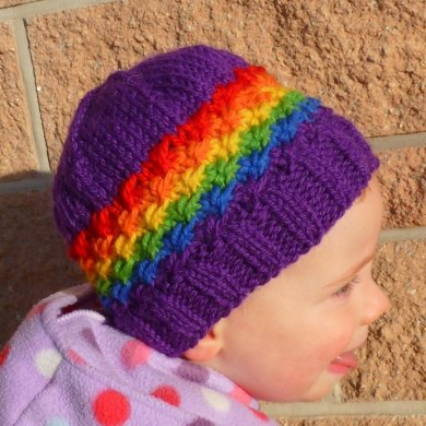 Rainbow Star Striped Beanie