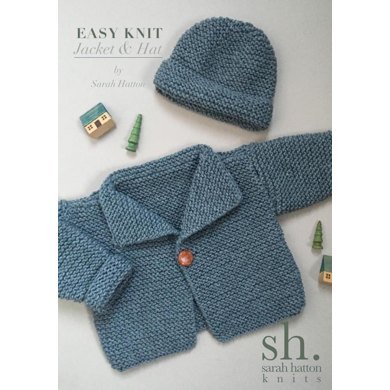 Easy knit Aran Jacket and Hat Knitting pattern by sarah hatton