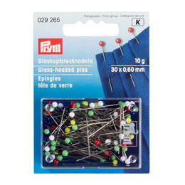 Prym Glass-Headed Pins No. 9 Assorted Colours 0.60 x 30 mm 10g