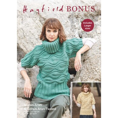 Sweater in Hayfield Bonus Aran Tweed with Wool - 8228 - Downloadable PDF