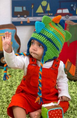 Dino Stripes Hat in Red Heart Super Saver Economy Solids - LW4297