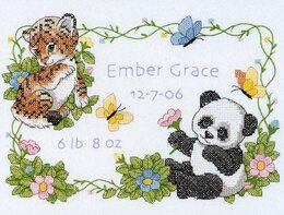 Dimensions Baby Animals Birth Record Stamped Cross Stitch Kit - 30cm x 23cm