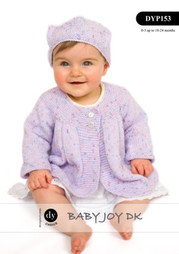 Matinee Jacket & Hat in DY Choice Baby Joy DK Print - DYP153