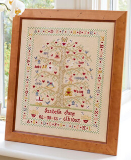 Historical Sampler Company Tree A-Z Birth Sampler, Girl Cross Stitch Kit