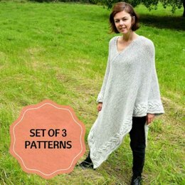 Set of 3 Knitting Patterns, Poncho and 2 Cardigans