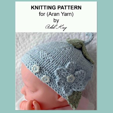 Orla Multi-size Flower and Hearts Button Baby Reborn Doll Hat Aran Yarn Knitting Pattern by Adel Kay