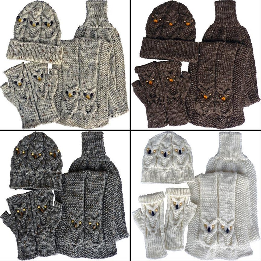 Owl Gloves Hat Scarf Knitting Pattern By Kittyknits