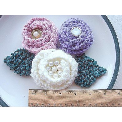 Knitted Rose and Leaves | Knitting Pattern 220
