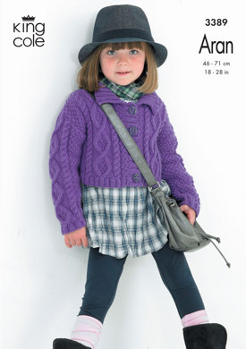 Diamond Cabled Cardigan and Waistcoat in King Cole Fashion Aran - 3389