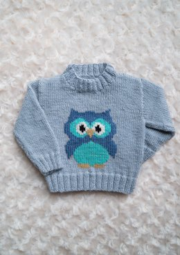 Intarsia Little Owl Chart Childrens Sweater