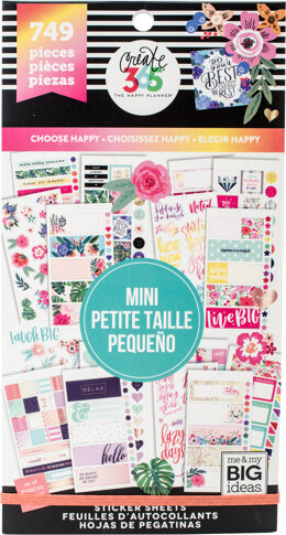 Me & My Big Ideas Happy Planner Sticker Value Pack - Choose Happy - Mini, 749/Pkg