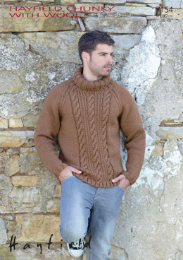 Polo Neck Sweater in Hayfield Chunky with Wool - 7154