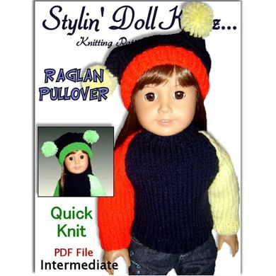 Fits American Girl Doll and 18 inch dolls. Raglan Pullover.