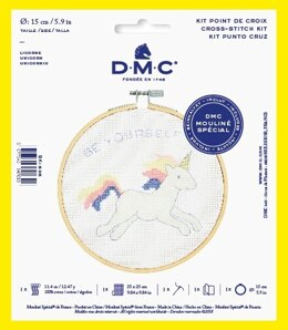 "DMC Unicorn (with 6"" hoop) Cross Stitch Kit - 25cm x 25cm"