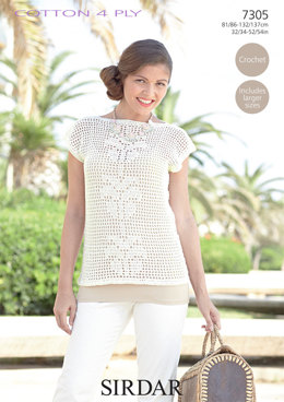 Women's Top in Sirdar Cotton 4 Ply - 7305 - Downloadable PDF