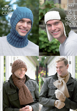 Men's Hats, Balaclava, Scarves & Hats in King Cole DK, Aran and Chunky - 3445