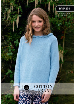 Young Lady Cable Jumper in DY Choice Cotton Aran - DYP234 - Downloadable PDF
