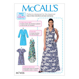 McCall's Misses' Dresses and Belt M7406 - Sewing Pattern