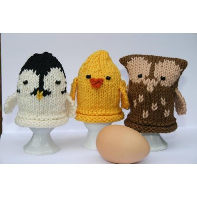 Owl, Chick and Penguin Egg Cozies