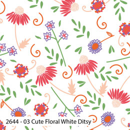 Craft Cotton Company Cute Florals - Cute Floral White Ditsy