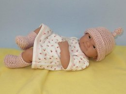 Just For Preemies - Premature Baby Garter Stitch Topknot Beanie and Booties Set