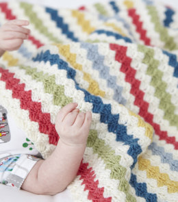 Striped Crochet Blanket in Debbie Bliss Rialto 4 ply - Downloadable PDF