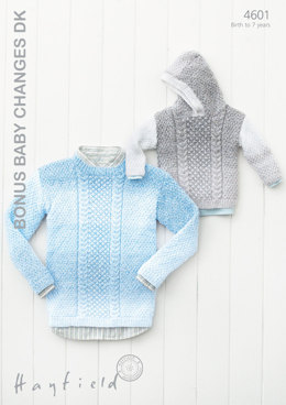 Round Neck and Hooded Sweaters in Hayfield Bonus Baby Changes DK - 4601