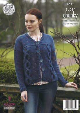 Sweater & Cardigan in King Cole Big Value Super Chunky Twist - 4611 - Downloadable PDF