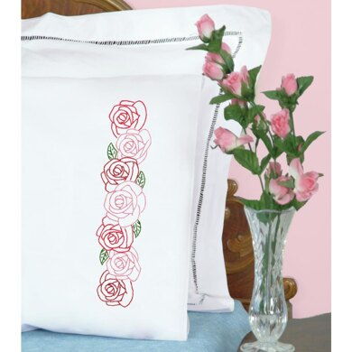 Jack Dempsey Stamped Pillowcases W White Perle Edge 2Pkg - Rose Garden