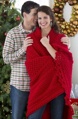 Holiday Cables Throw Crochet in Red Heart Niki - LW3967EN