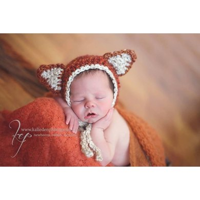 Woodland Fox or Bear Baby Bonnet