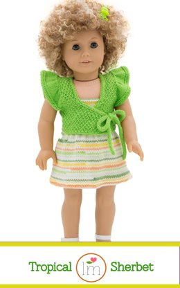Summer Dress and Cardigan for 18 inch Doll, Knitting pattern, Doll Clothes