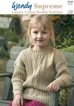 Girl's Cable and Wide Rib Tunics in Wendy Supreme Cotton DK - 5129
