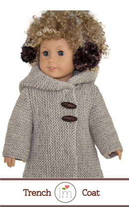 Winter hooded coat for  18 inch dolls, Doll Clothes Knitting Pattern