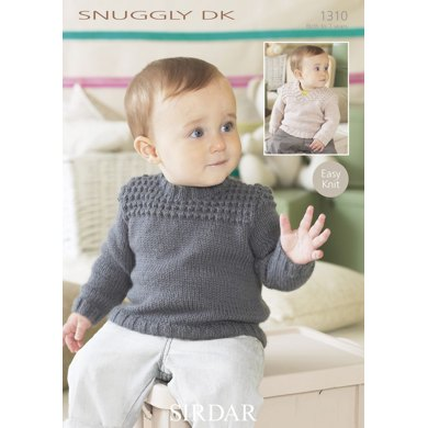 Round and V Neck Sweater in Sirdar Snuggly DK - 1310