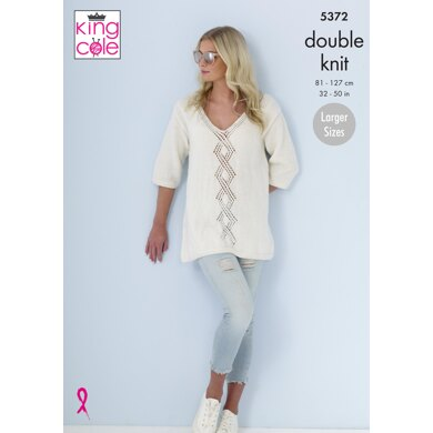 Ladies Sweaters in King Cole Cotton Top DK - 5372 - Downloadable PDF