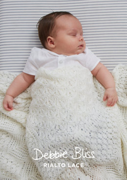 """Heirloom Christening Shawl"" - Shawl Knitting Pattern For Babies in Debbie Bliss Rialto Lace - DB183"