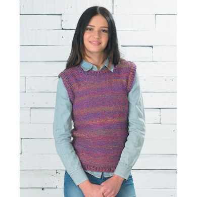 Dipped Hem Sweater and Vest in Wendy Festival Chunky - 5735
