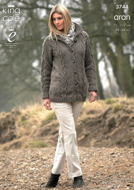 Tunic, Coat and Scarf in King Cole Fashion Aran - 3744