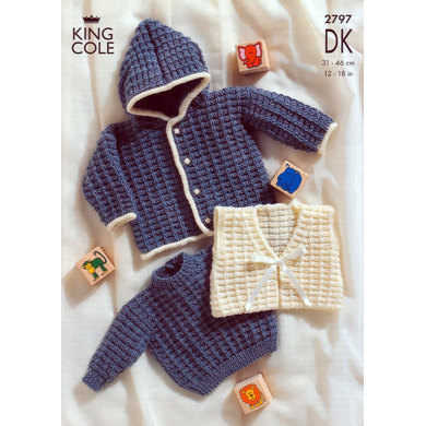 Sweater, Jacket and Gilet in King Cole Big Value Baby DK - 2797
