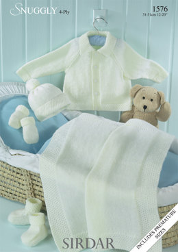 Jacket, Hat, Mittens, Bootees and Blanket in Sirdar Snuggly 4 ply 50g - 1576