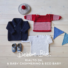 Water Babies Coat, Breton, Guernsey & Beret - Layette Knitting Pattern for Babies in Debbie Bliss - Downloadable PDF