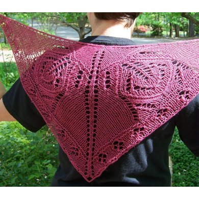 "Royal Red Butterfly Shawl (33"" x 15"")"