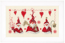 Vervaco Cheerful Santas Cross Stitch Kit - 29cm x 17cm