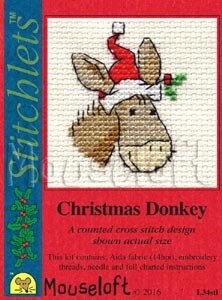 Mouseloft Christmas Donkey Cross Stitch Card Kit - 6cm x 6cm