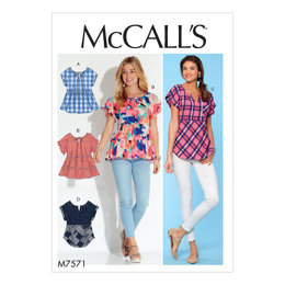 McCall's Misses' Split-Neck Tops with Sleeve and Hem Options M7571 - Sewing Pattern