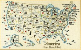 Sue Hillis Designs America Map - M100 - Leaflet