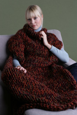 Knit Sweater Blanket in Lion Brand Wool-Ease Thick & Quick and Homespun - 60542AD