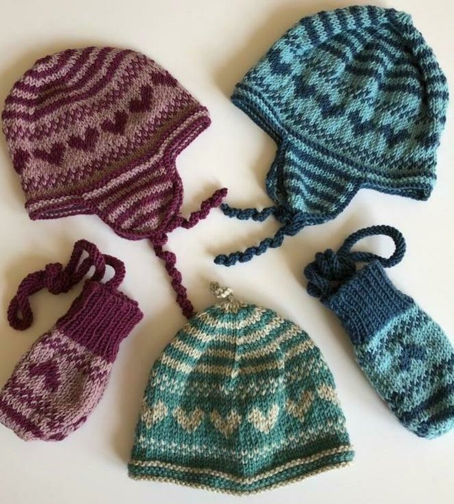 Baby Hats With Flaps And Matching Mittens Knitting Pattern By Jane Reay